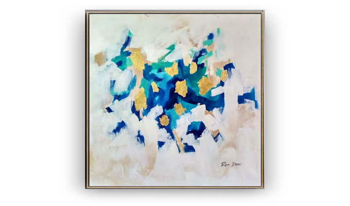 Soft colors abstract painting with gold leaves by Ron Deri