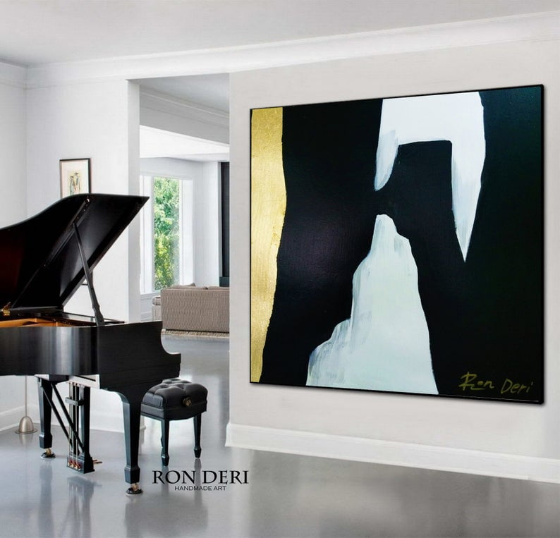 Huge black and gold abstract painting by Ron Deri