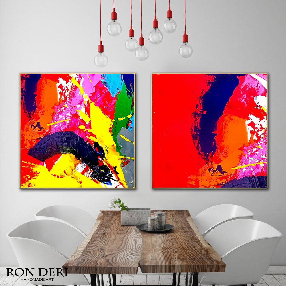 Red vibrant oil abstract painting