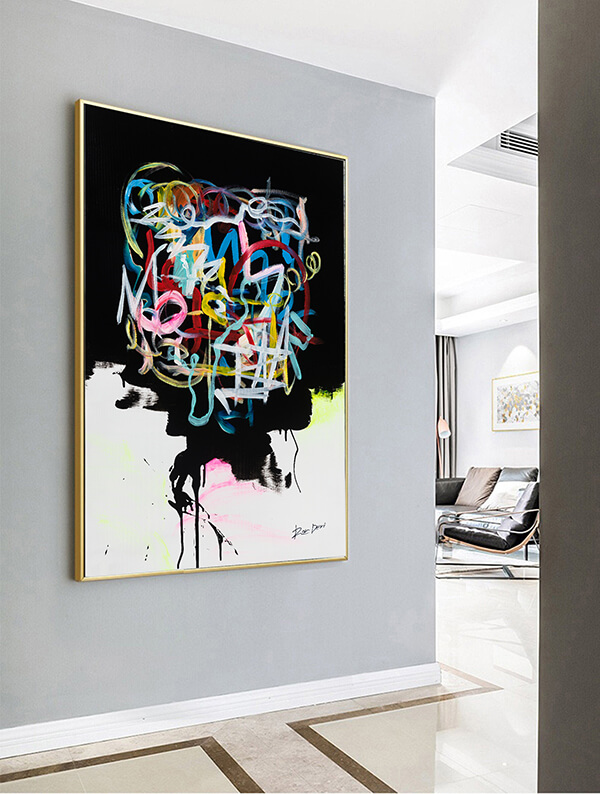 abstract art, abstract painting human brain, expressive linework