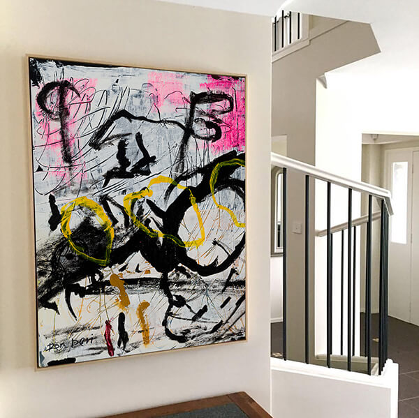 Abstract art for home decor, pink, white, black and yellow