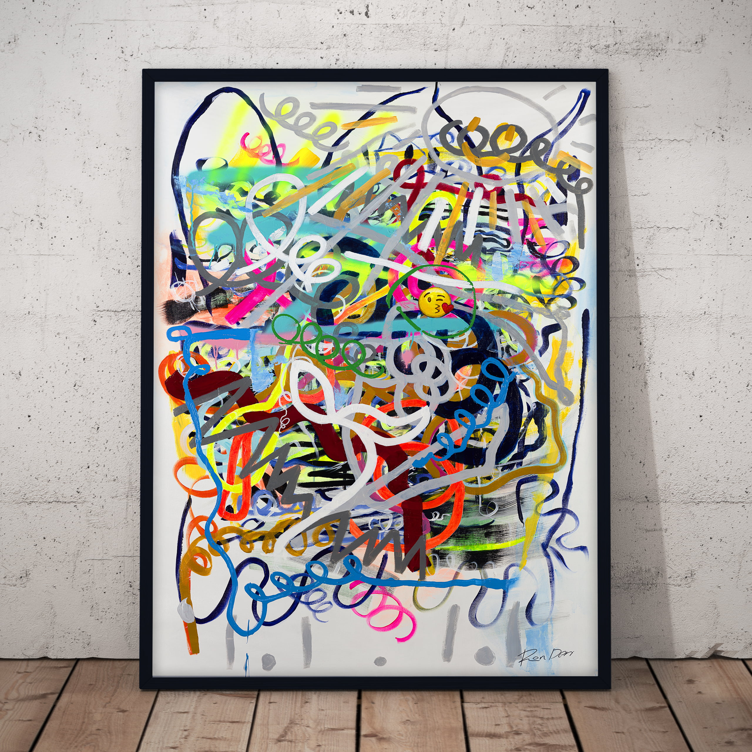 social abstract art print colourful lines by ron deri