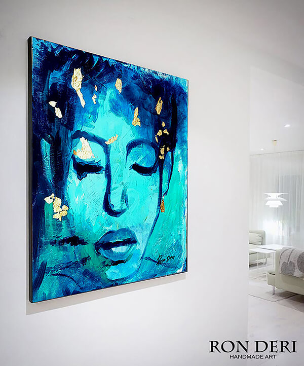 woman-art-painting-print-blue-gold-ron-deri