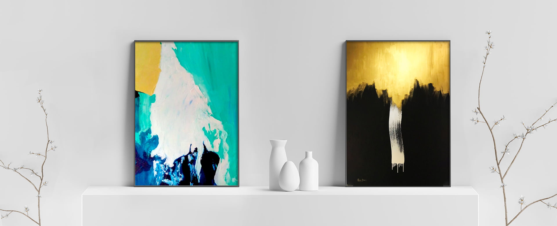 two gold abstract art paintings in home decor