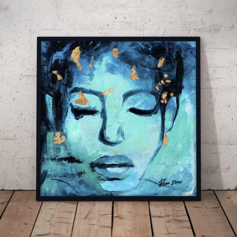 believe woman face abstract portrait art print by ron deri