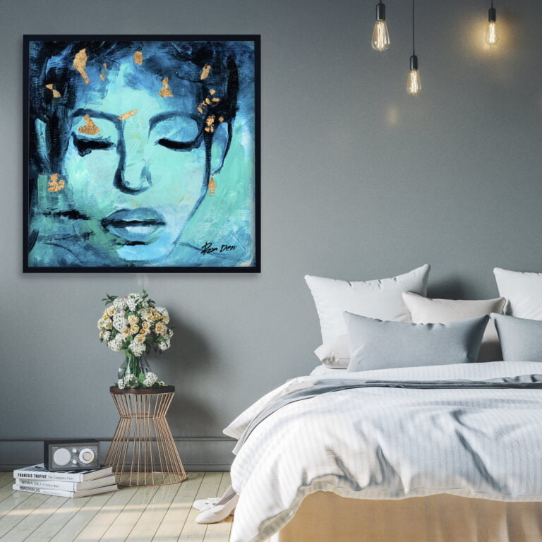 woman face abstract art for home decor by ron deri