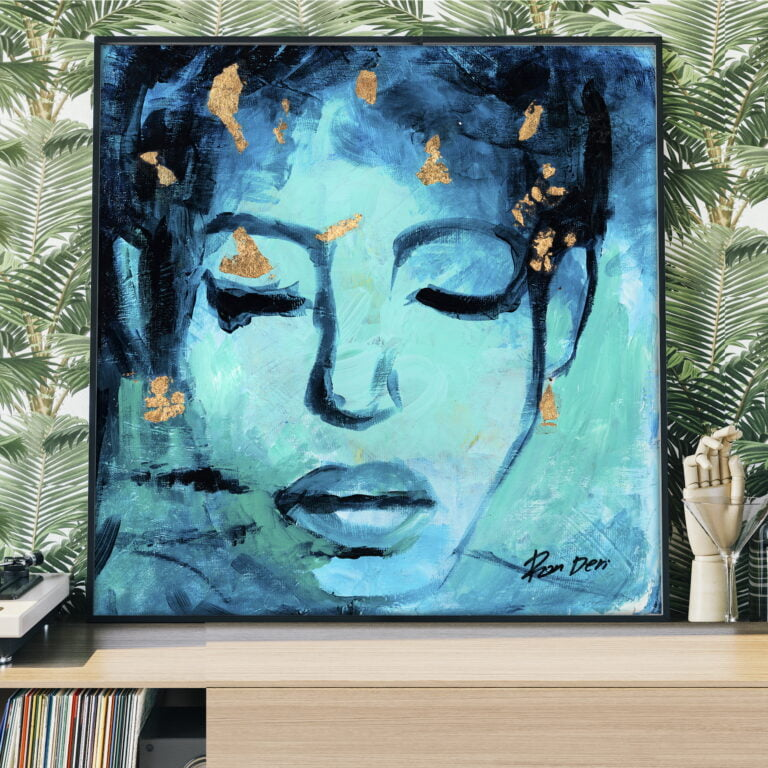 abstract blue woman facial portrait by ron deri
