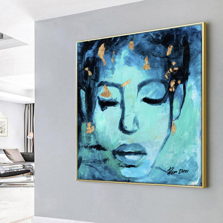 teal abstract woman face contemporary art for sale by ron deri