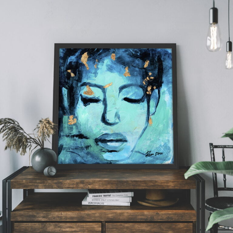 blue abstract woman face modern art for sale by ron deri