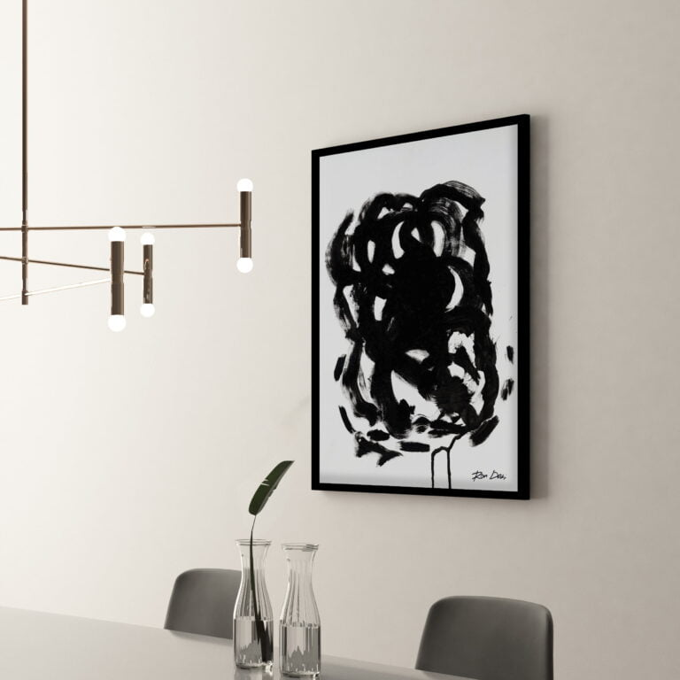 black and white abstract art print - stain 3 - side view