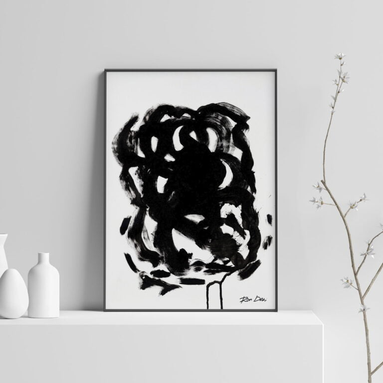 black and white abstract art print - stain 3