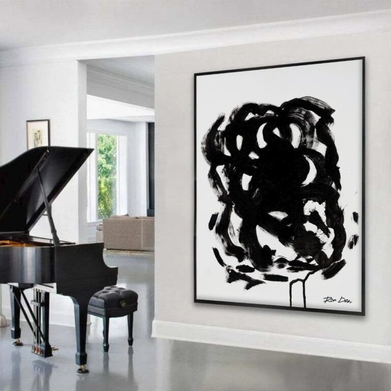 black and white abstract art print - stain 3 - piano