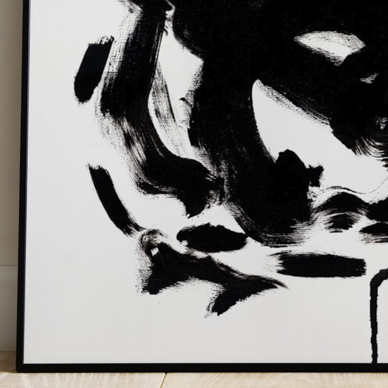 black and white abstract art print - stain 3 - bottom left