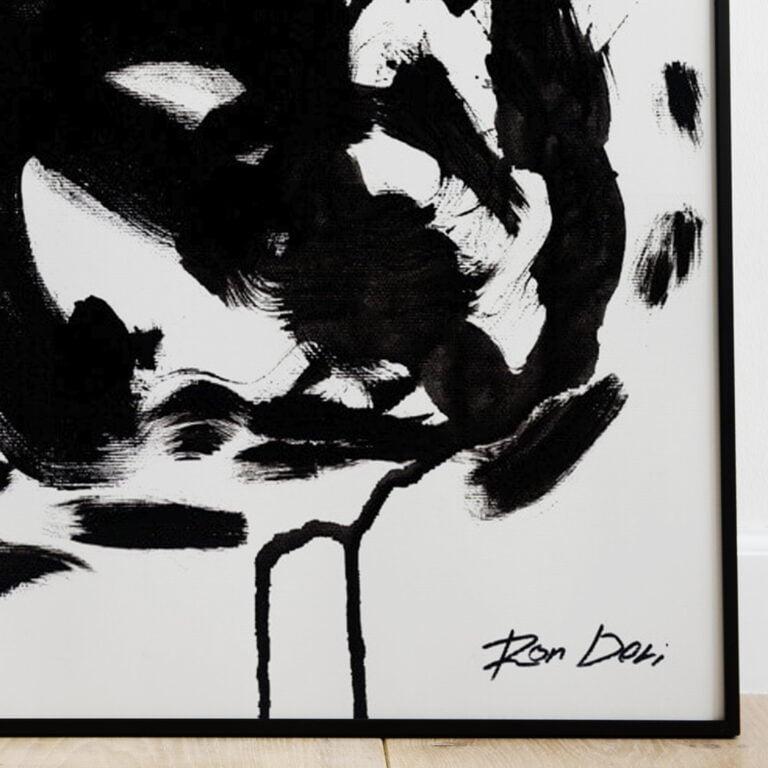 black and white abstract art print - stain 3 - bottom right