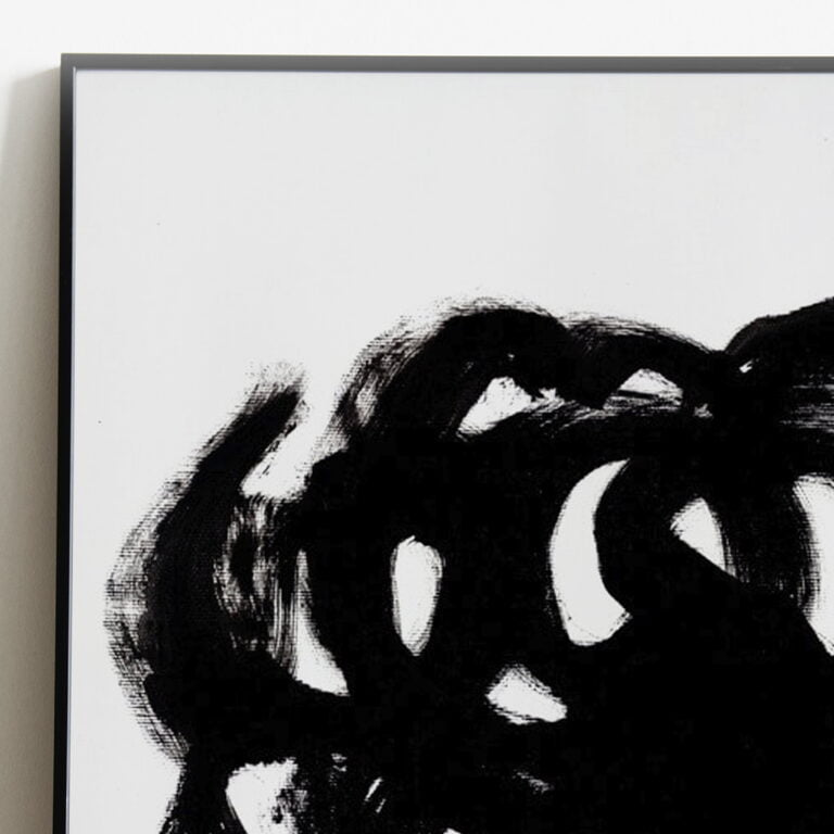 black and white abstract art print - stain 3 - top left