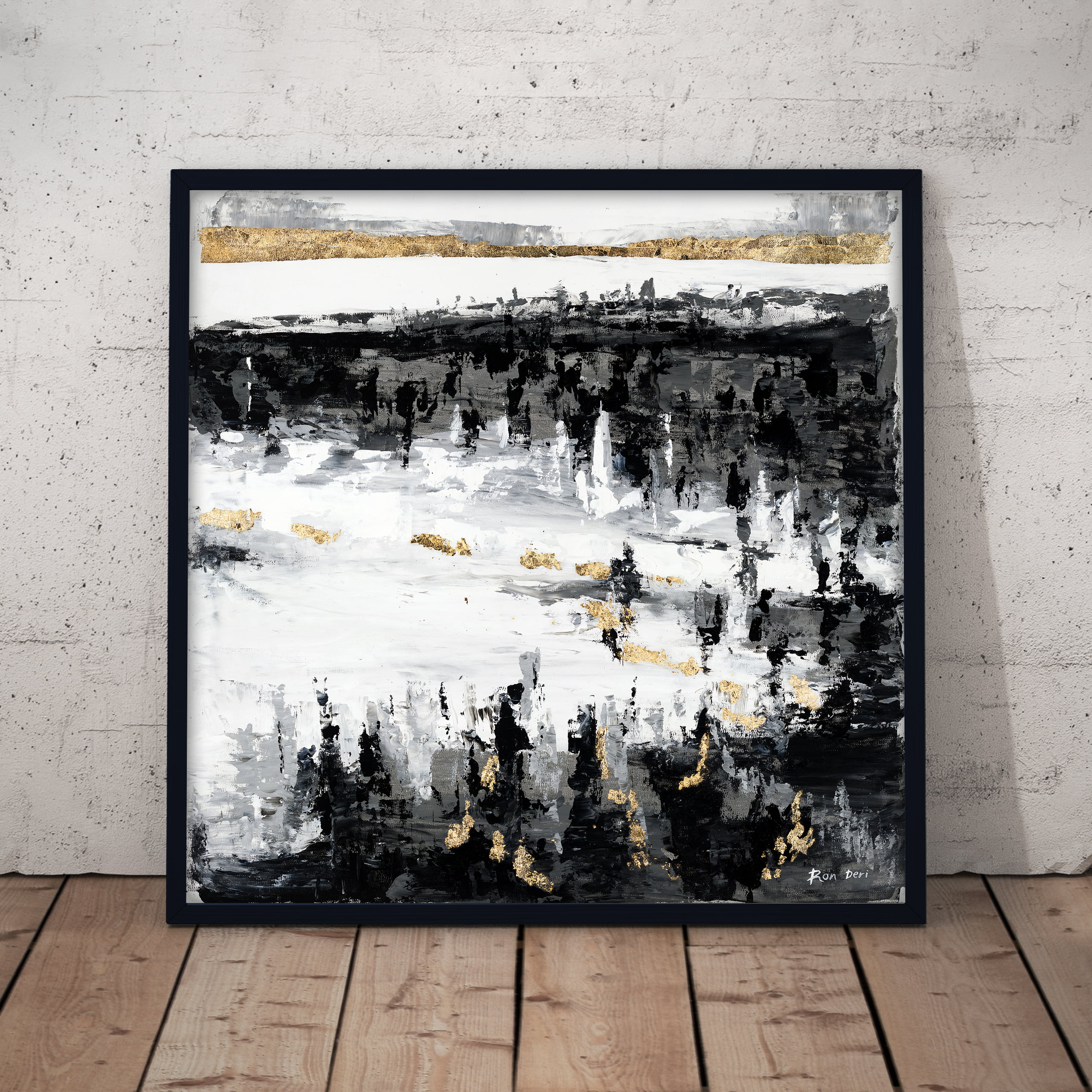 frozen lake - black white and gold abstract art print by ron deri