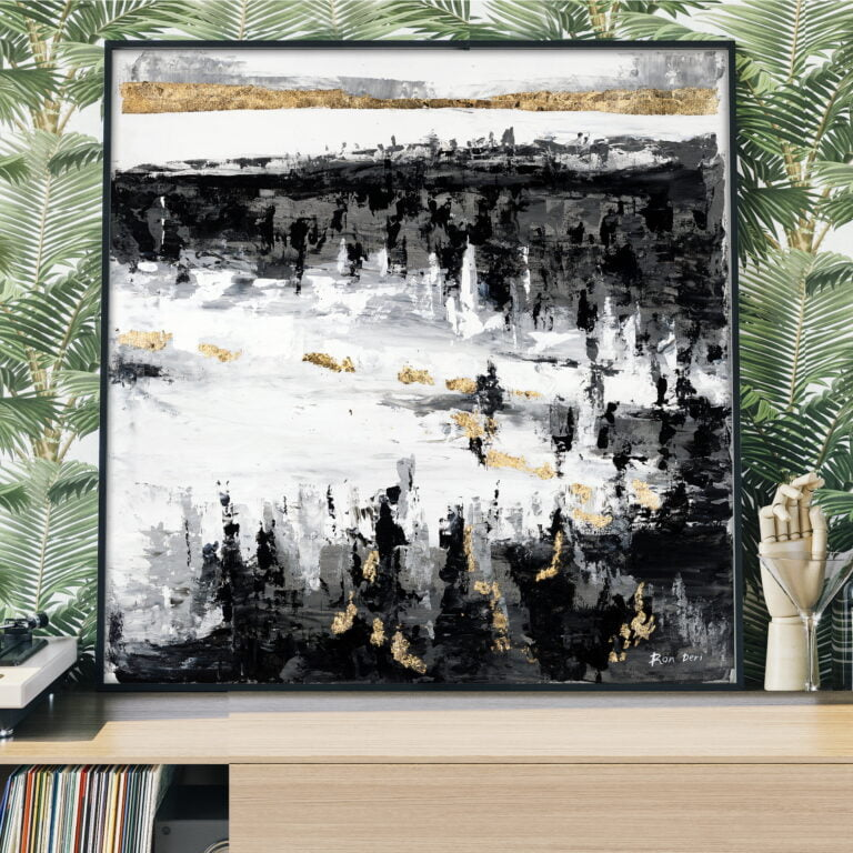black white and gold modern canvas wall art by ron deri