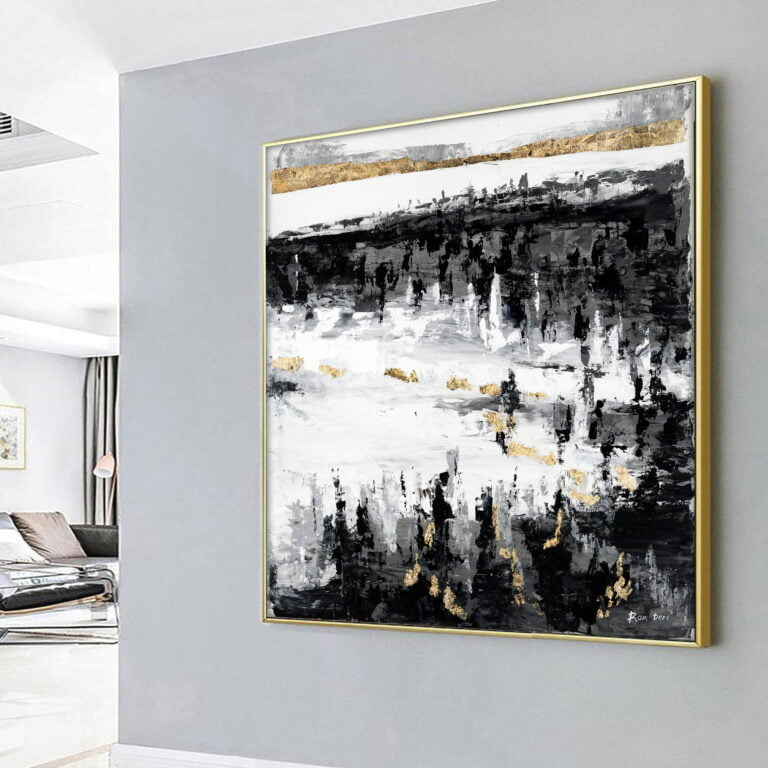 black white and gold modern canvas wall art for sale by ron deri