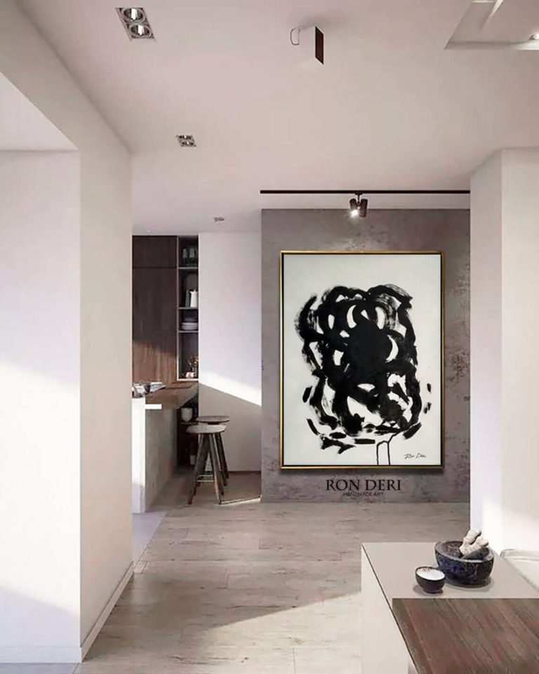 Stain III - Black Canvas Print, Black Abstract Art, Painting Print