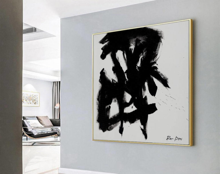 Stain I - Black Canvas Print, Black Abstract Art, Painting Print