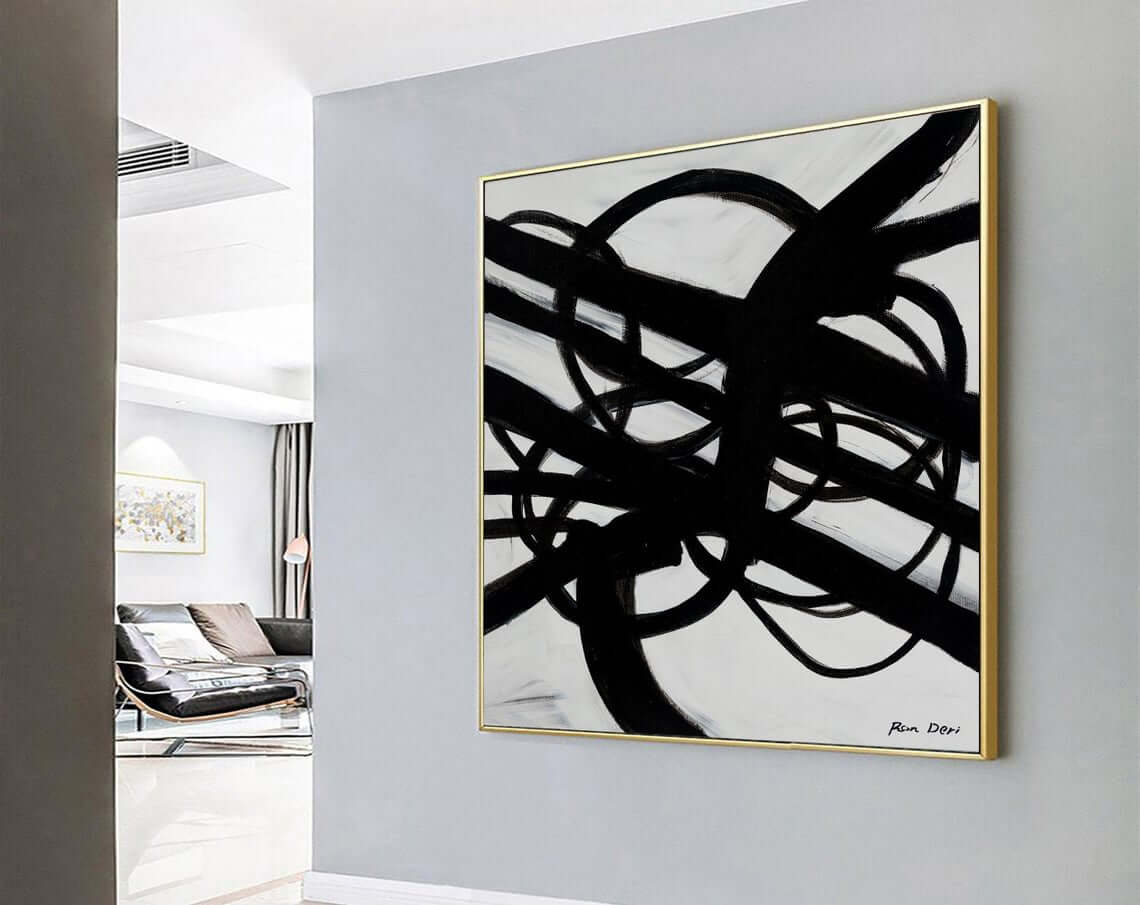 Infinity Roads - Canvas Print, Black Abstract Art, Painting Print