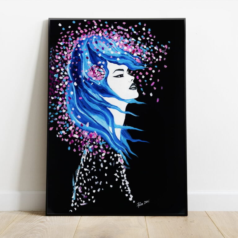 goddess lady woman abstract print black background