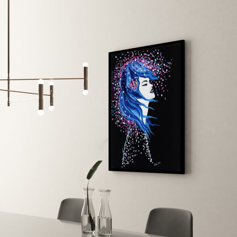 goddess lady woman abstract print black background - side view