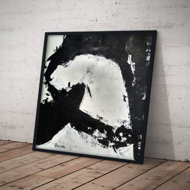 stain 2 monochrome wall art on canvas - black and white - by ron deri