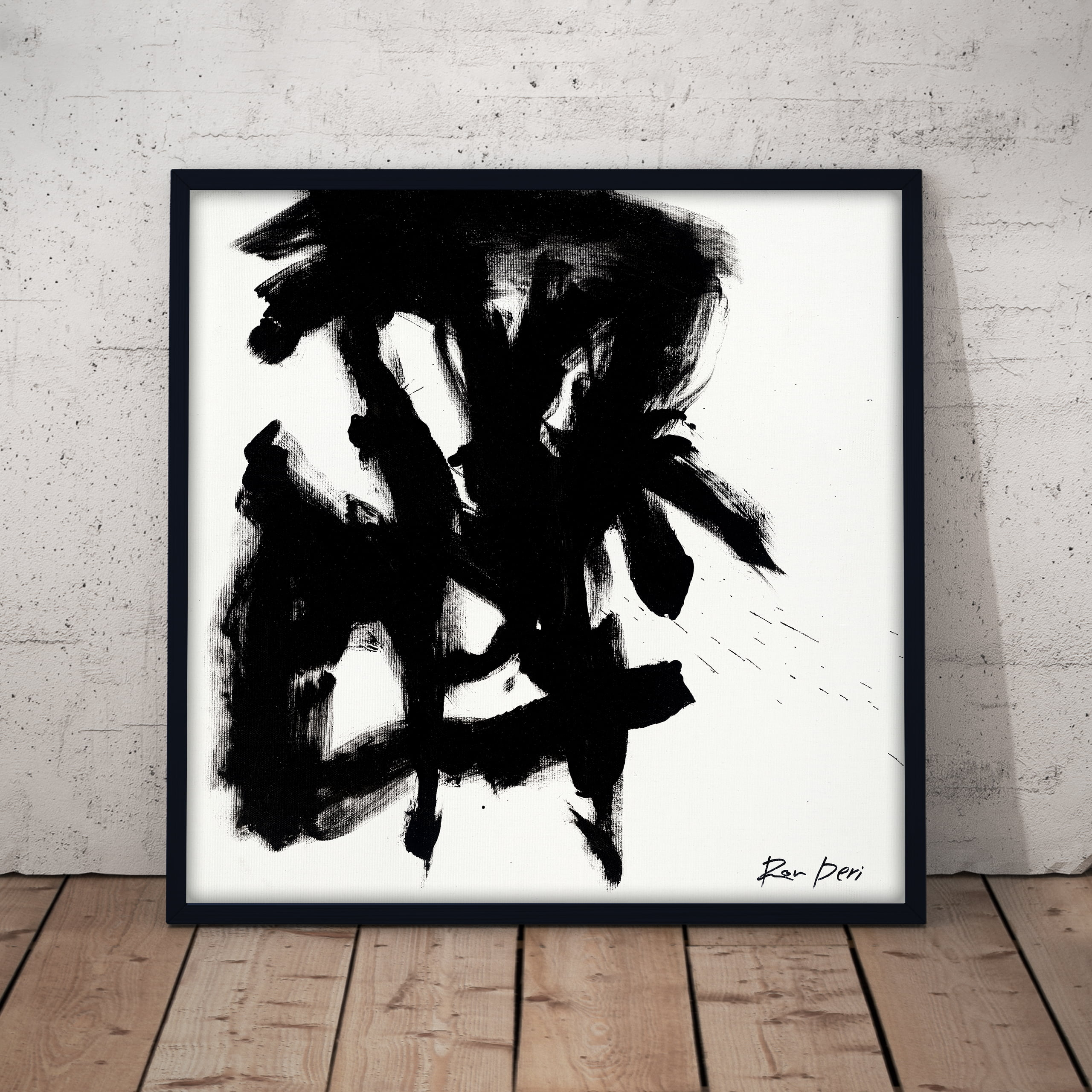 stain black and white monochrome abstract art print by ron deri