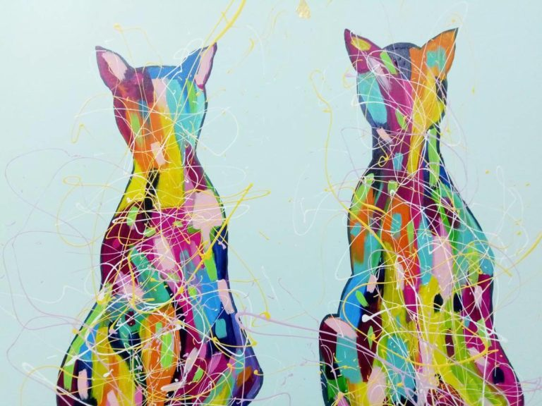 two_cats_painting_print_abstract_mint_gold_ron_deri-1