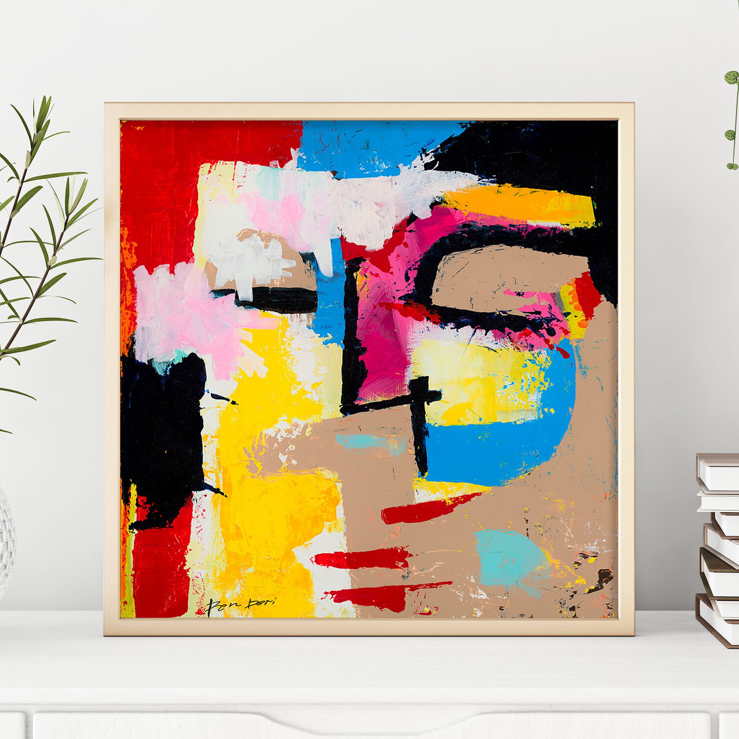 human face abstract art print colorful - disturbia