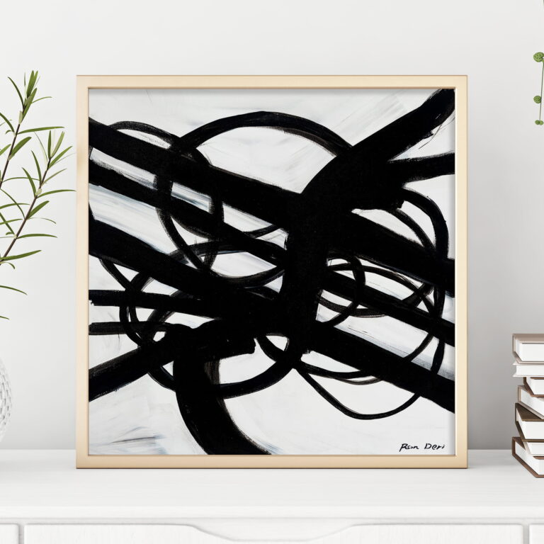black and white abstract art print - infinity roads