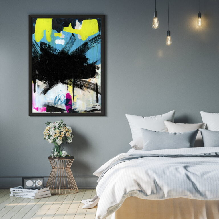 black abstract art by ron deri for sale