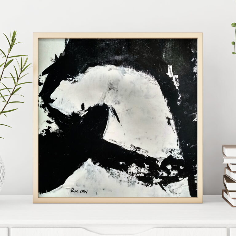 Stain 2, Black and white abstract art print for home decor design