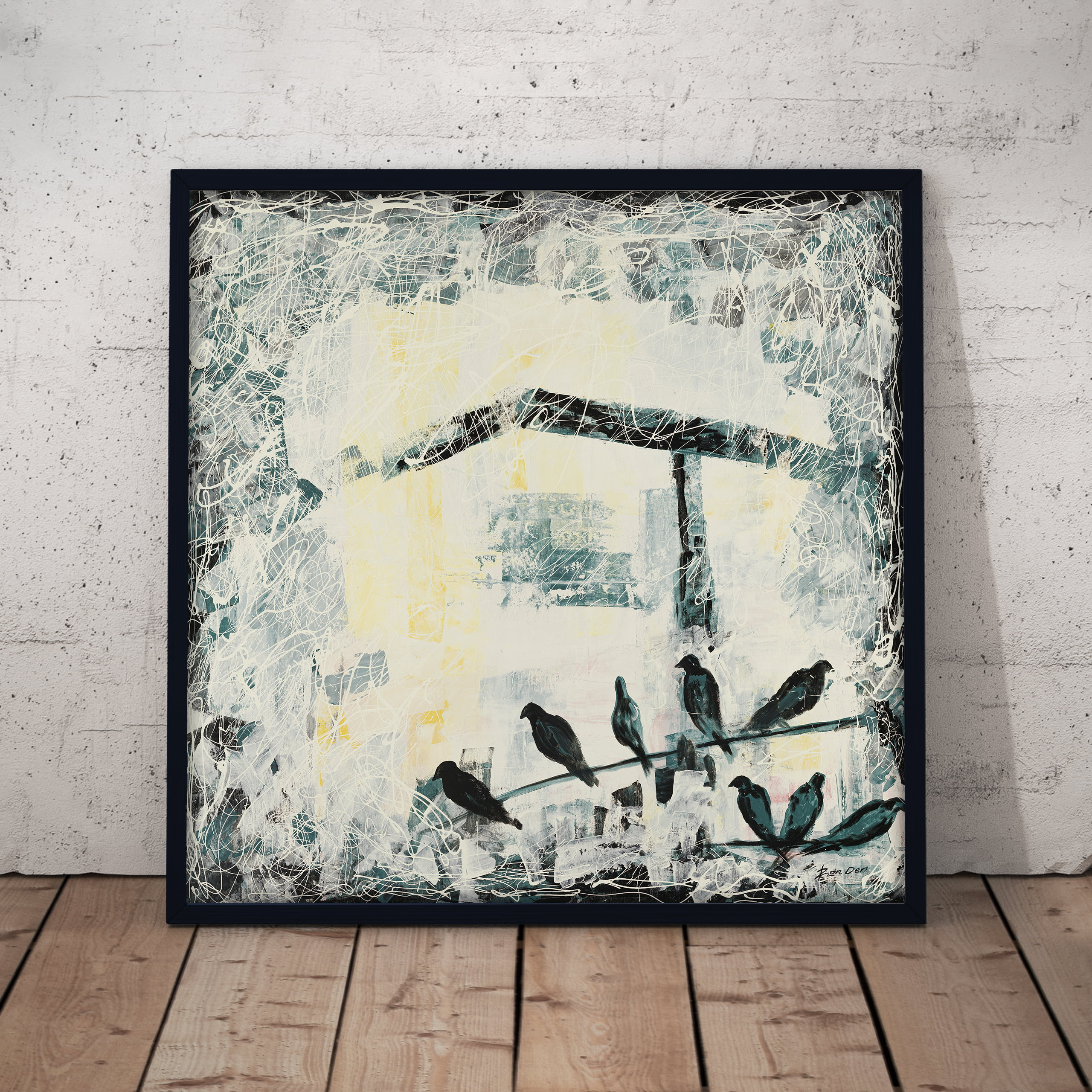 birds abstract art canvas wall painting by ron deri