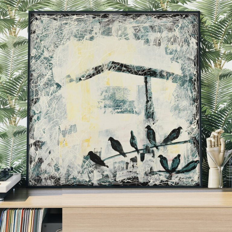 birds seating on a tree branch painting by ron deri