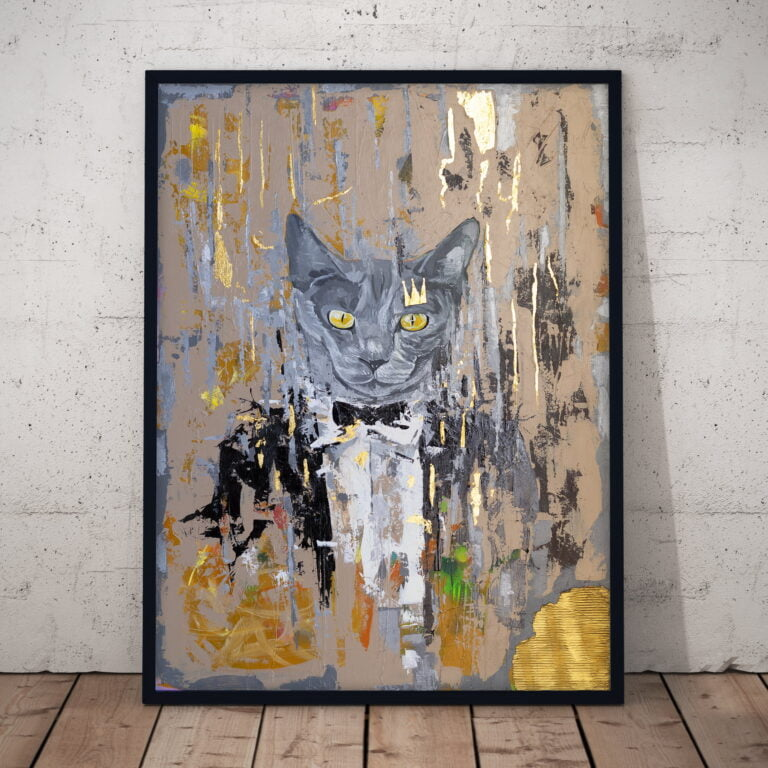 cat in tuxedo suit abstract art painting by ron deri