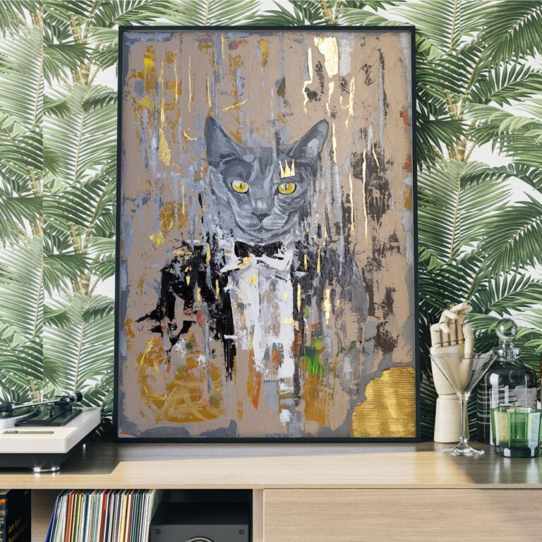 grey cat with yellow eyes in tuxedo suit painting by ron deri