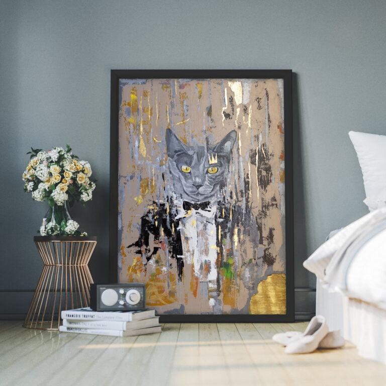 contemporary art for home decor by ron deri - grey cat yellow eyes dress up suit