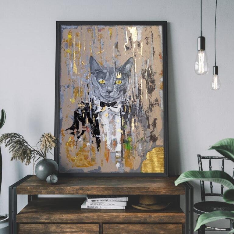 modern canvas wall art for sale by ron deri - cat in tuxedo