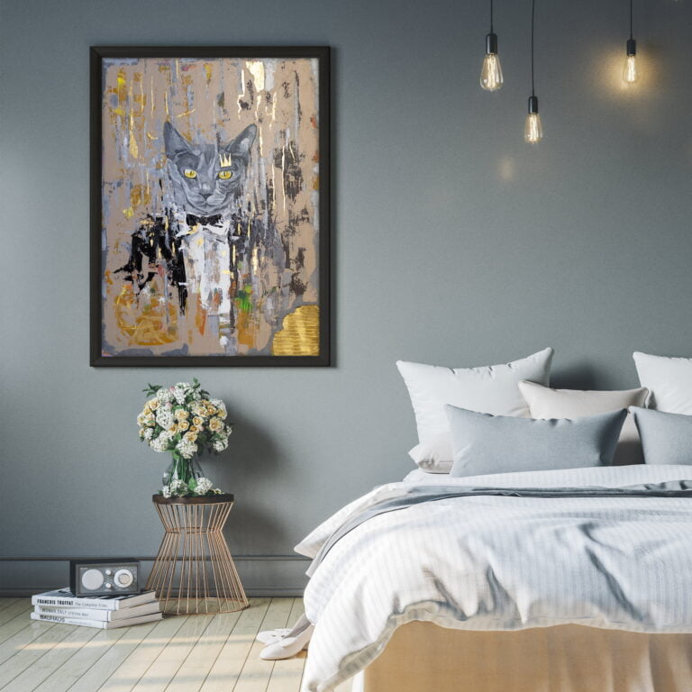 grey cat with yellow eyes in a suit prom dance canvas art by ron deri