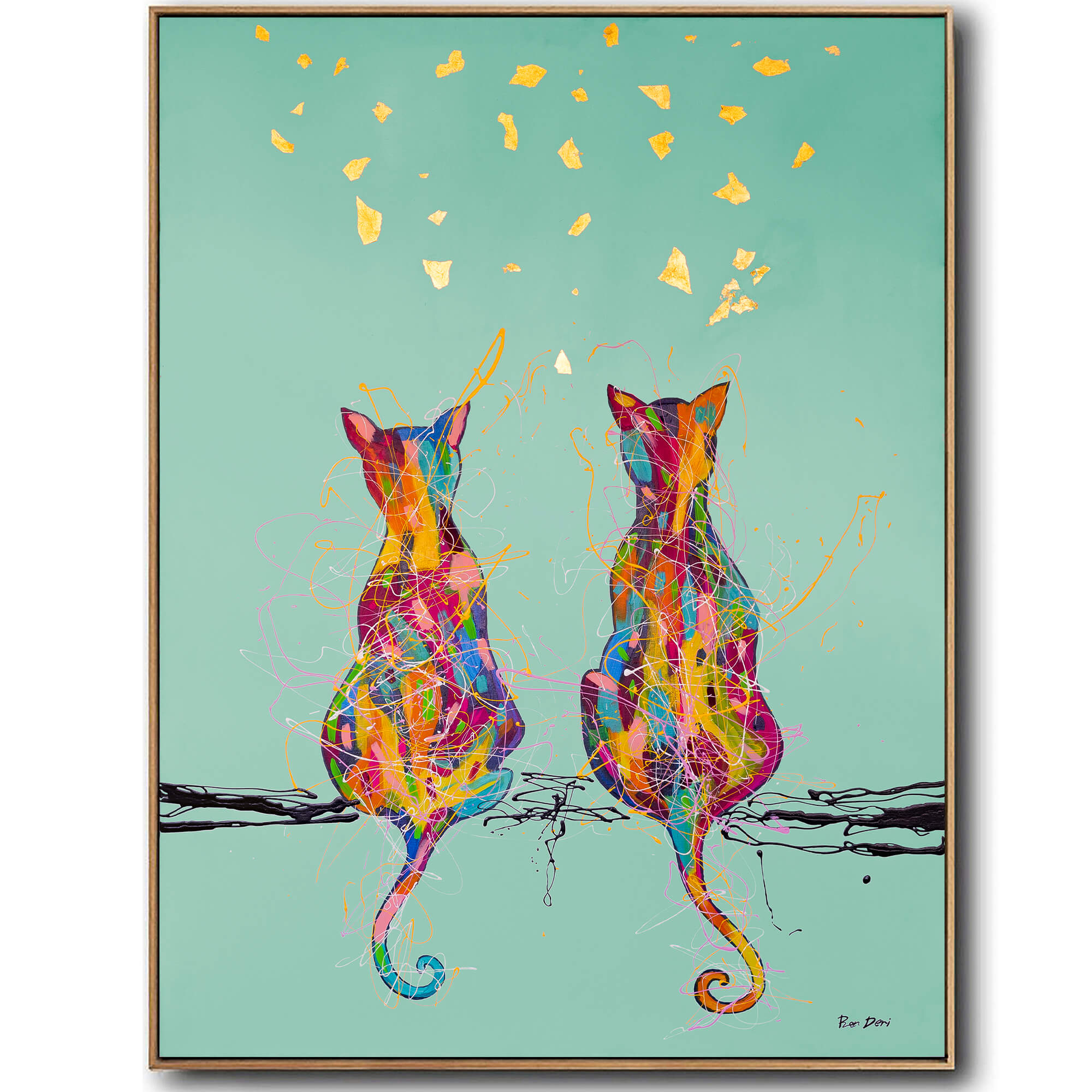 couple_cats_abstract_painting_print_canvas_art_ron_deri