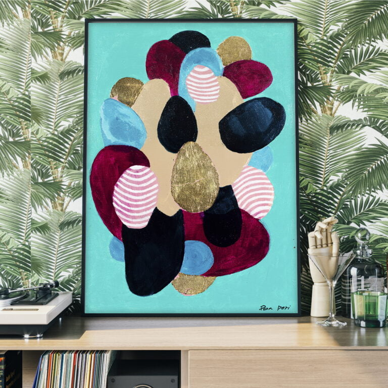 egg shaped objects colorful abstract painting art by ron deri