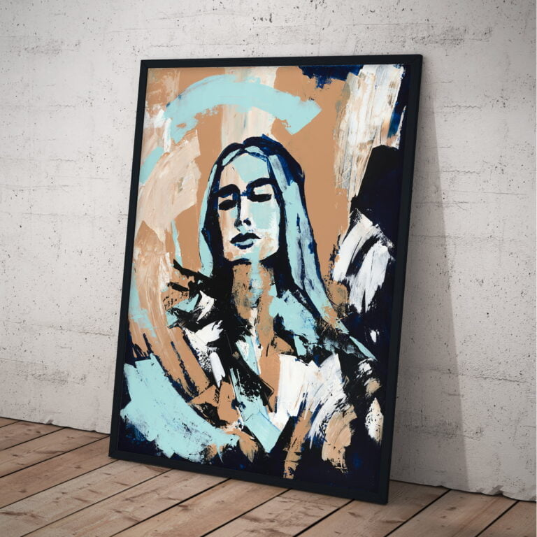 woman earth tones black outline painting by ron deri