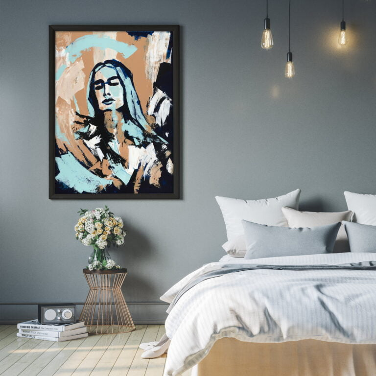 face abstract earth tones painting for home decor by ron eri