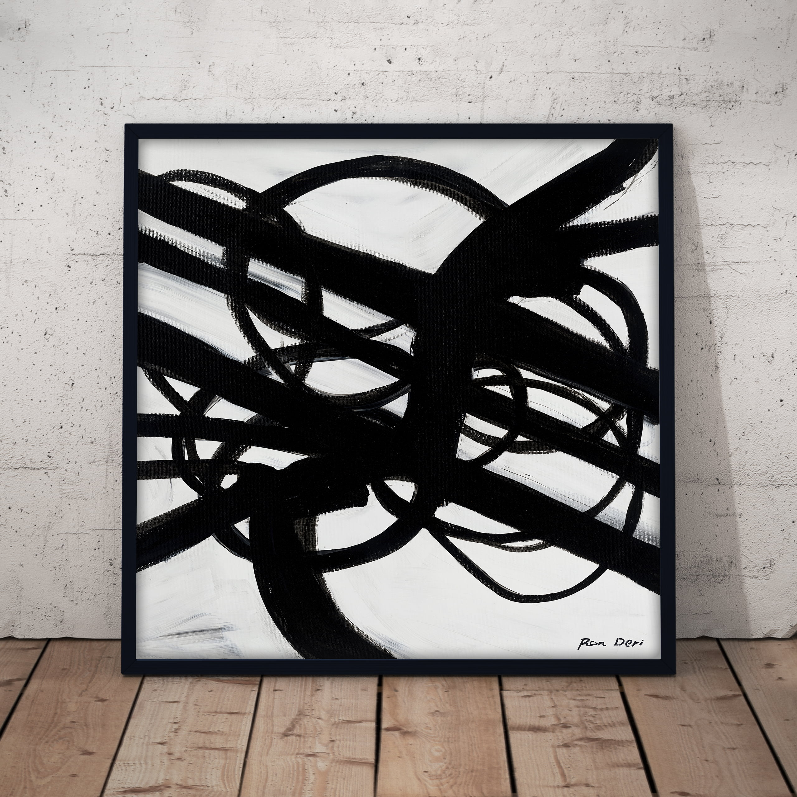 inifinity roads black and white abstract art print by ron deri