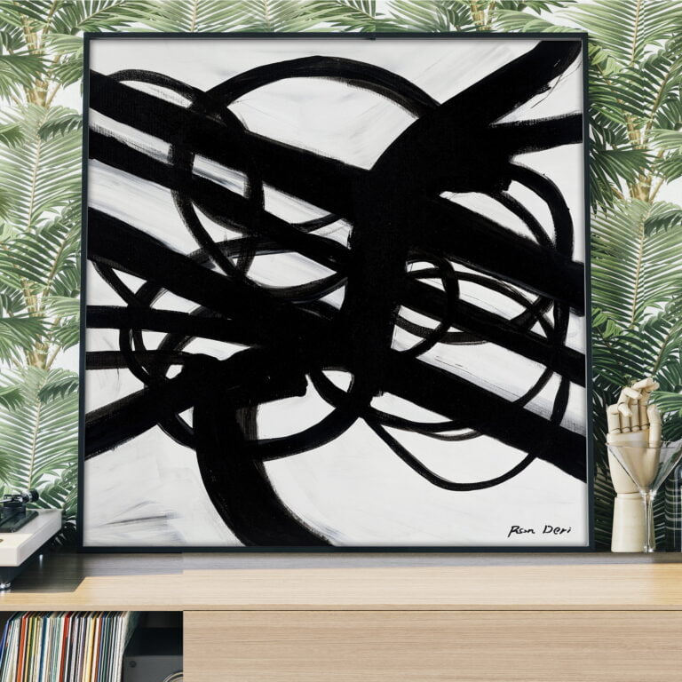 black and white wall art on canvas by ron deri