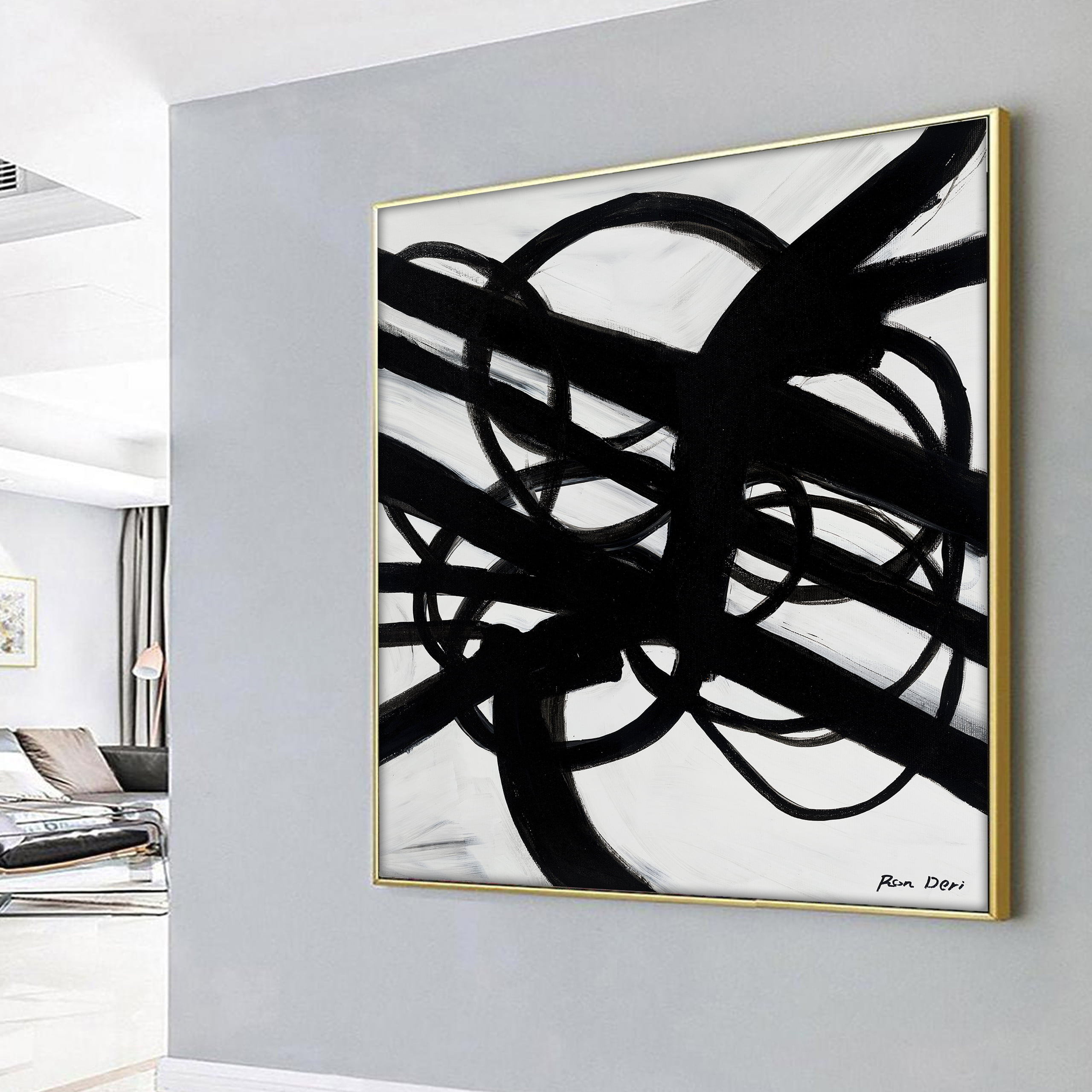 monochrome modern contemporary large canvas wall art by ron deri for home decor