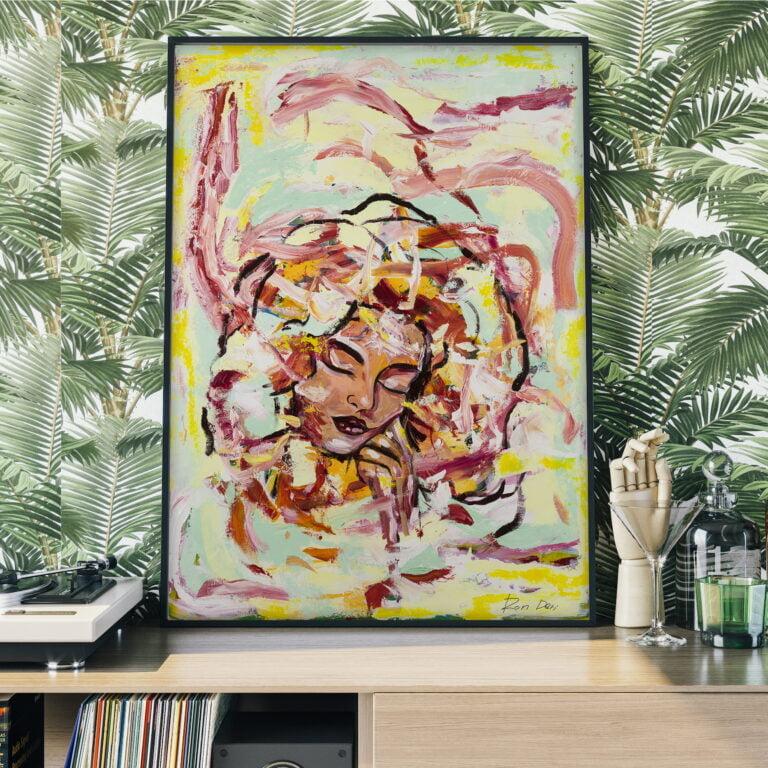 female girl goddess wall art in earth tones by ron deri