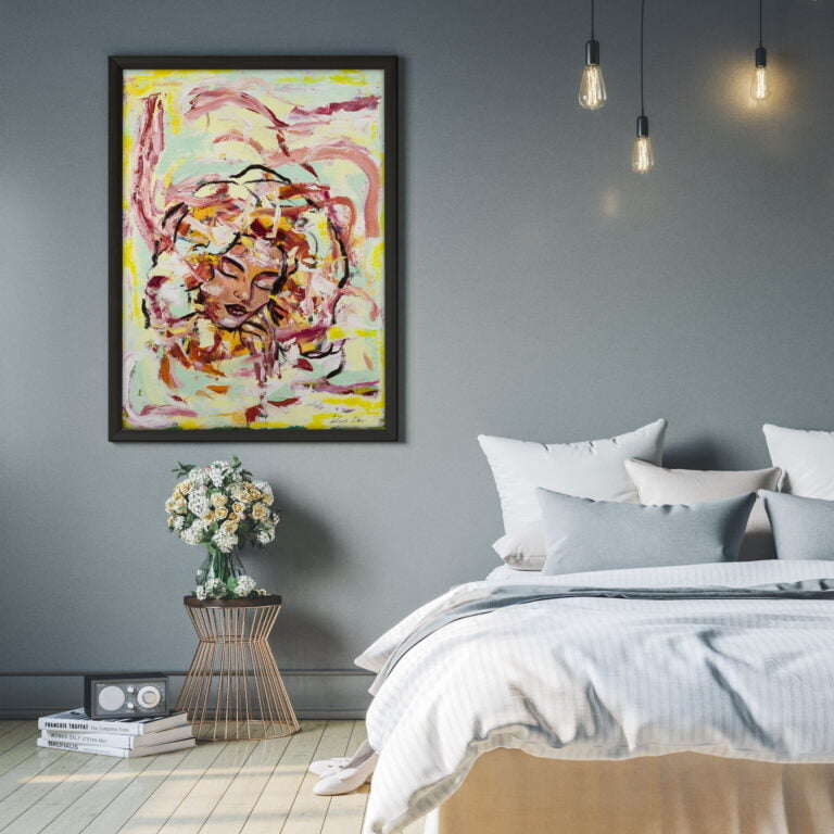 pink, yellow woman face modern contemporary art for sale by ron deri